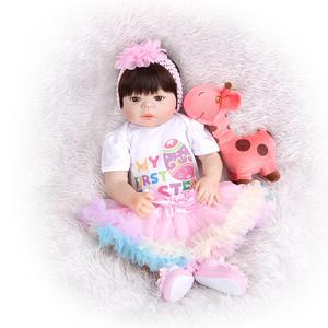 Image 2 - KEIUMI New Arrival Toy Reborn Baby Dolls Full Silicone Vinyl Body Lifelike 23 Inch Babies Dolls Girl Birthday Gift For Sale