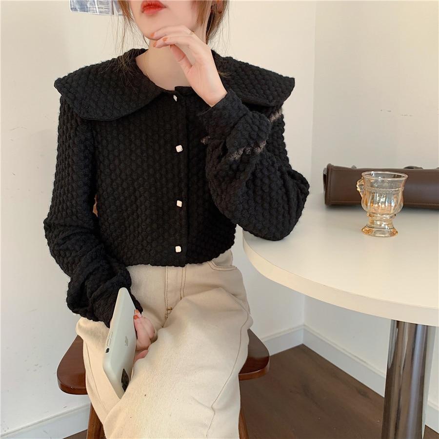 Hbb77606907c1445fbf8847b415cb33abu - Spring / Autumn Big Lapel Long Sleeves French Lace Buttons Blouse