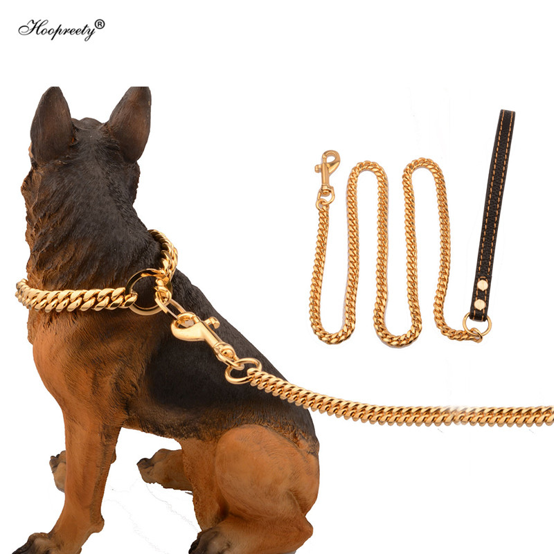 Metall Edelstahl Haustier Hund Gold Kragen Blei Super Außen Großen Hund Ausbildung Kette Kragen Decor Halskette Für Alle Hunde 10E