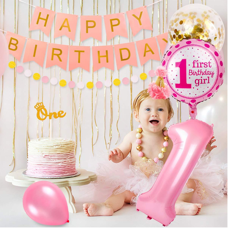 30pcs Baby Girls First Birthday Baby Shower 1st Party Decorations Set Banner Tissue Paper Pom-poms Foil Balloon Birth Day Hat