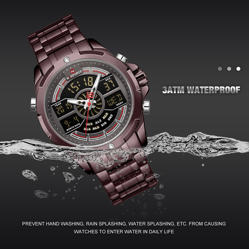Image 4 - NAVIFORCE Luxury Mens Sport Watch Brand Military Waterproof BackLight Digital Quartz Wrist watches Men Clock Relogio Masculino-in Quartz Watches from Watches