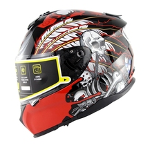New Full Face Helmet Skull Pattern Cascos Flip Up Motorcycle Helmet Detachable Casco Moto Shark Capacete De Motocicleta Uv Cut