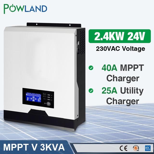 POWLAND 3kva שמש מהפך 2400W 220V 40A MPPT 3Kva טהור סינוס גל מהפך 50Hz כבוי גריד מהפך 24V סוללה מטען inversor