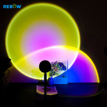 Drop Shipping In Stock RGB Sunset Projection Night Light Nordic Mini Sunset LED Projector Lamp Novelty Atmosphere Lamp Backlight