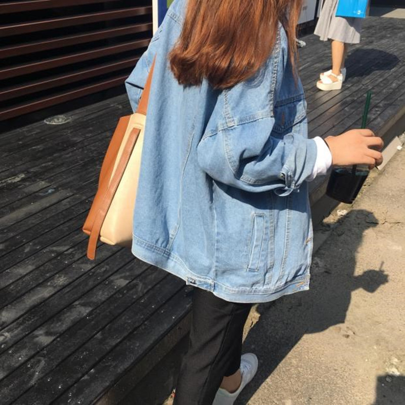 Spring Autumn 2020 New Street Retro BF Oversized Loose Women Jeans Jacket Top Long Sleeve Jeans Coat Female Plus Size