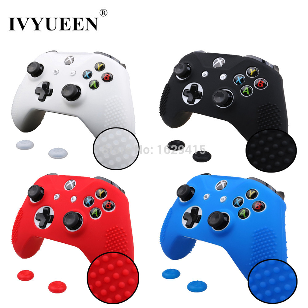 IVYUEEN 2 in 1 for Microsoft Xbox One X S Slim Controller Silicone Gel Rubber Skin Case + 2 PCS Joystick Grips Analog Stick Caps