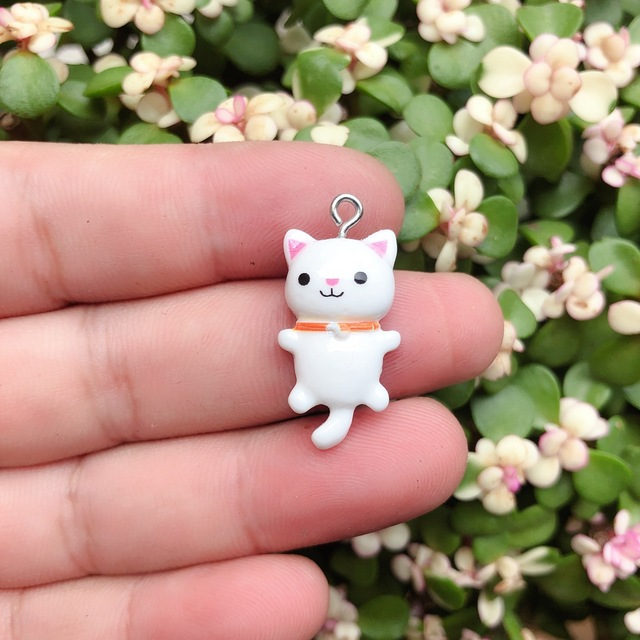 10pcs/pack Kawaii Cat Charms Pendants for Jewelry Making Animal Resin Charms Jewlery Findings DIY Craft 6