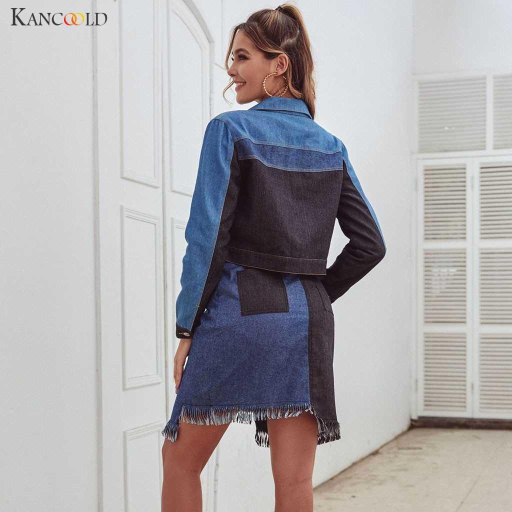 Abrigos de KANCOOLD para mujer pachwoek Denim chaqueta de manga larga botón Casual prendas de vestir de una sola botonadura moda nuevo abrigo mujer 2019NOV25
