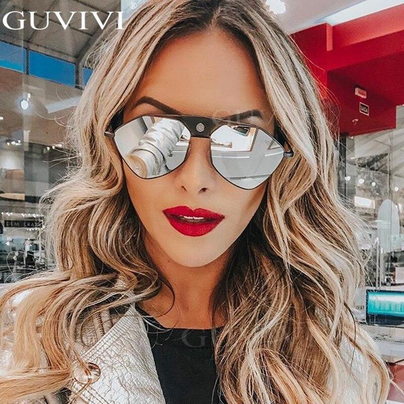 Mirror Steampunk Sunglasses Women 2020 Cat Eye Pilot Sunglasses Men Vintage Retro Sunglasses Eyewear Steampunk UV400 Gradient