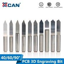 XCAN 10 Chiếc 45/60/90 Độ PCB V Hình Khắc Bit 3D CNC Router Bit 3.175Mm Vít PCB khắc Dụng Cụ Xay