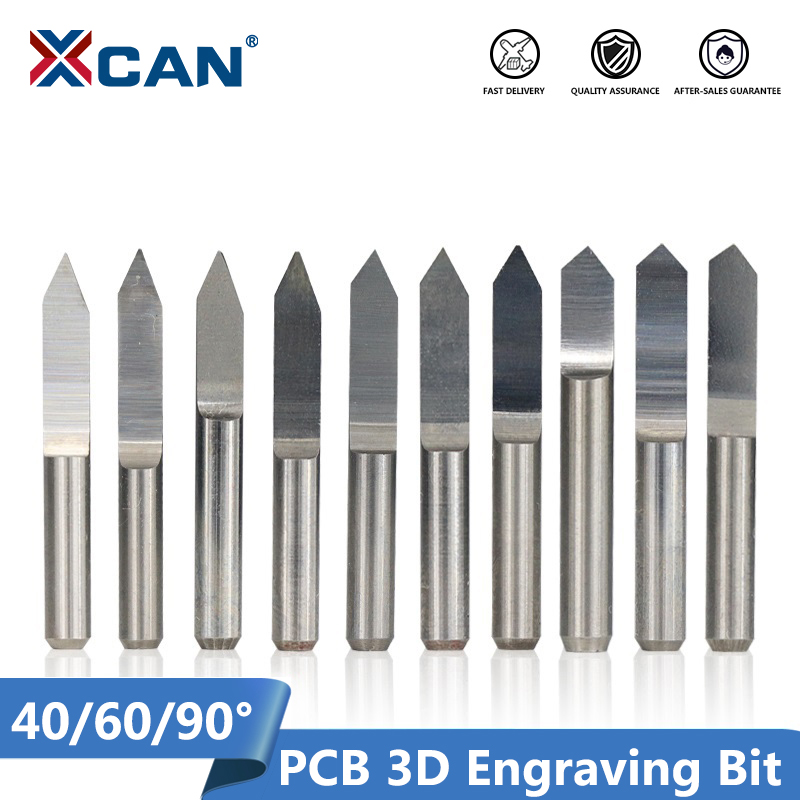 XCAN 10pcs 45/60/90 Degrees PCB V Shape Engraving Bits 3D CNC Router Bit 3.175mm Shank PCB Carving Milling Tools