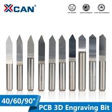 Xcan 10 個 45/60/90 度pcb vシェイプ彫刻ビット 3D cncルータービット 3.175 ミリメートルシャンクpcb彫刻フライス工具