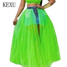 KEXU Explosion Splicing Mesh Perspective Large Swing Skirt Personality Reverse Cowboy Big Pocket New Fashion Pettiskirt