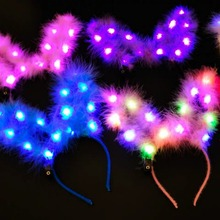 Plush Ear LED Light Up Headband Glowing Hair Band For Holiday Party Headwear