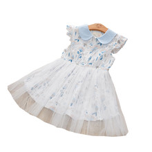2020 Girls Dress Fashion Flower Doll Neck Childrens Dress