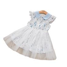 2020 kız elbise moda çiçek bebek boyun çocuk elbise