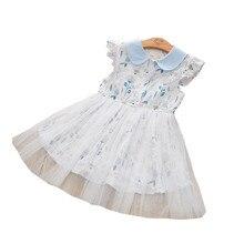 2020 mädchen Kleid Mode Blume Puppe Neck kinder Kleid