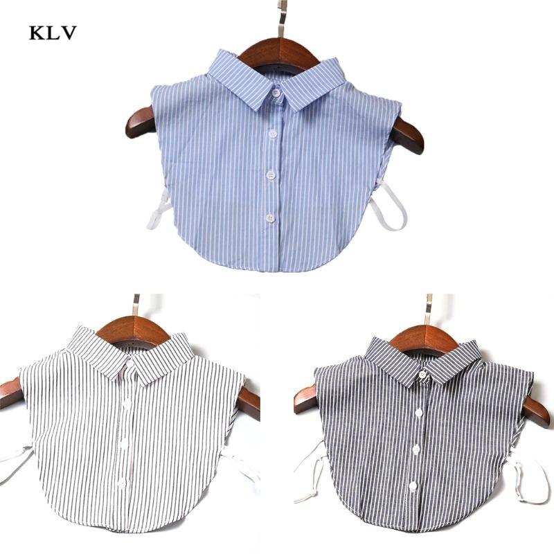 KLV Vertical Striped Detachable Collar Women/Man Vintage Necklace Detachable Lapel Shirt Fake False Collar Clothing Accessories
