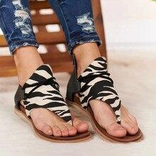 Sandalias de mujer leopardo Clip dedos Vintage plano Retro zapatos mujer Casual sandalias de playa Mujer moda damas 2020 verano gran oferta