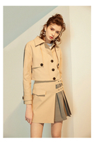 2019 Spring Elegant lady two piece set Fashion solid short Trench coat and skirt 2 piece set women Casual business sets