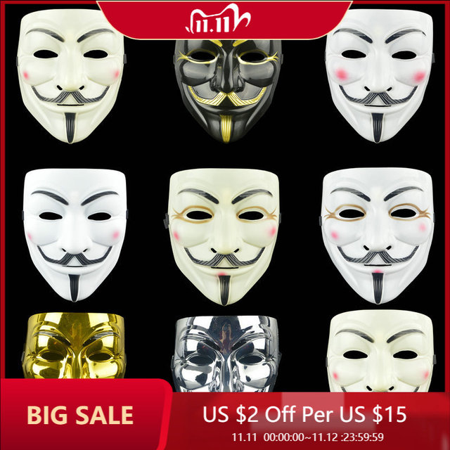 1PCS Party Masks V for Vendetta Mask Anonymous Guy Fawkes Fancy Adult Costume Accessory Cosplay Halloween Party Masks