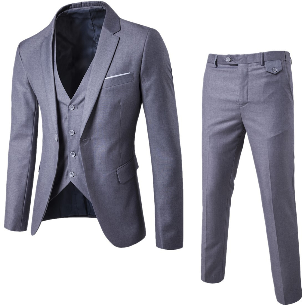 Gray Men's Dress Suits Men 3 Pieces Solid Classic Blazers Sets Men Business Blazer +Vest +Pants Suits Sets