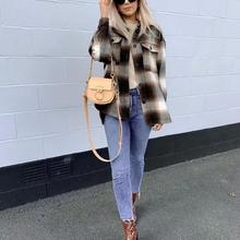 Shirt Coat Jacket Oversize ZA Check Women's Woman Tweed Outwear Autumn Thick Winter Plus