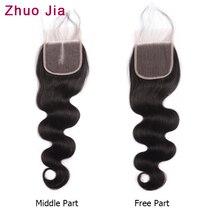 Бразильские волнистые накладные волосы на тонкой прозрачной основе(4x4 кружева закрытие естественного Цвет ZhuoJia бразильский Реми человеческие волосы с детскими волосами