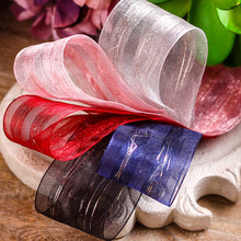 100yards 25mm 40mm double gold purl satin stripes organza sheer ribbon for hair bow diy accessories wedding party decoration