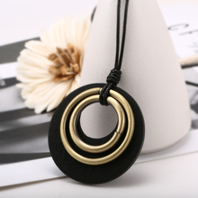 Retro Necklaces For Women Sweater Statement Black Green Wooden Round Pendant Necklaces Jewelry Gift 2020 Long Wax Leather Chain