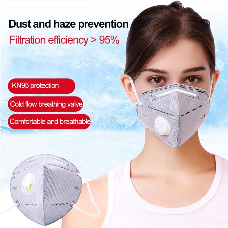 1pc KN95 With Breathing Valve Folding Protective N95 Mask Anti-Fog Dust Mask Gray Ear Band Kitchen TissueBathroom Paper