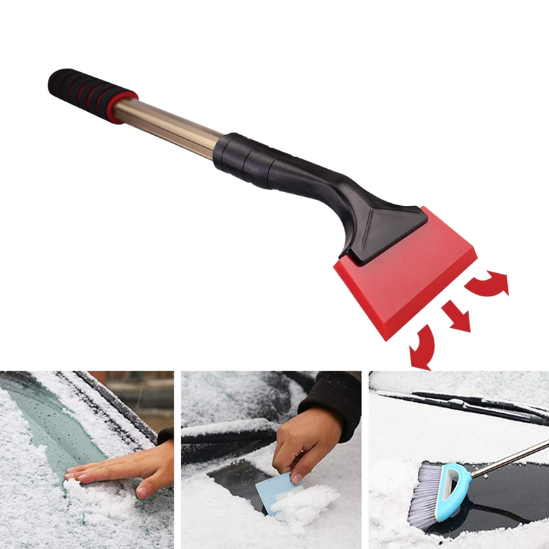 Car Ice Snow Scraper Rubber Blade Scratch-Free Freeze Resistant, Long Handle Vehicle Windshield Frost Snow Ice Removal Scraper image