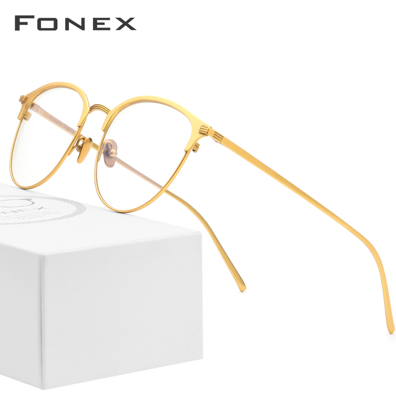 Pure B Titanium Glasses Frame Men Round Prescription Eyeglasses Eyewear Vintage Myopia Optical Spectacles Women Eye Glasses 889