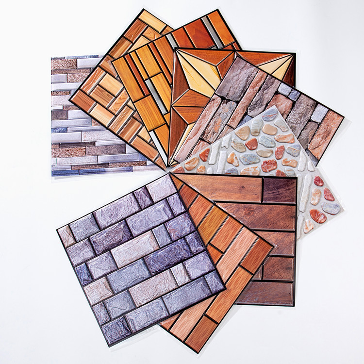 Stiff Pvc Self-adhesive Wall Stickers Retro Simulation Brick Environmental Protection Material 3d Stereo Wallpaper