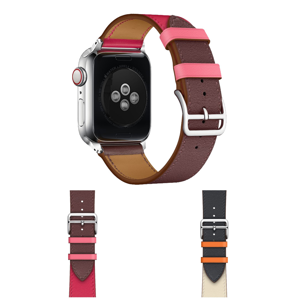 Suitable For Apple Smart Watch I Watch One Two Three Generation Universal Full-grain Leather Single Circle Fashion Watch Strap