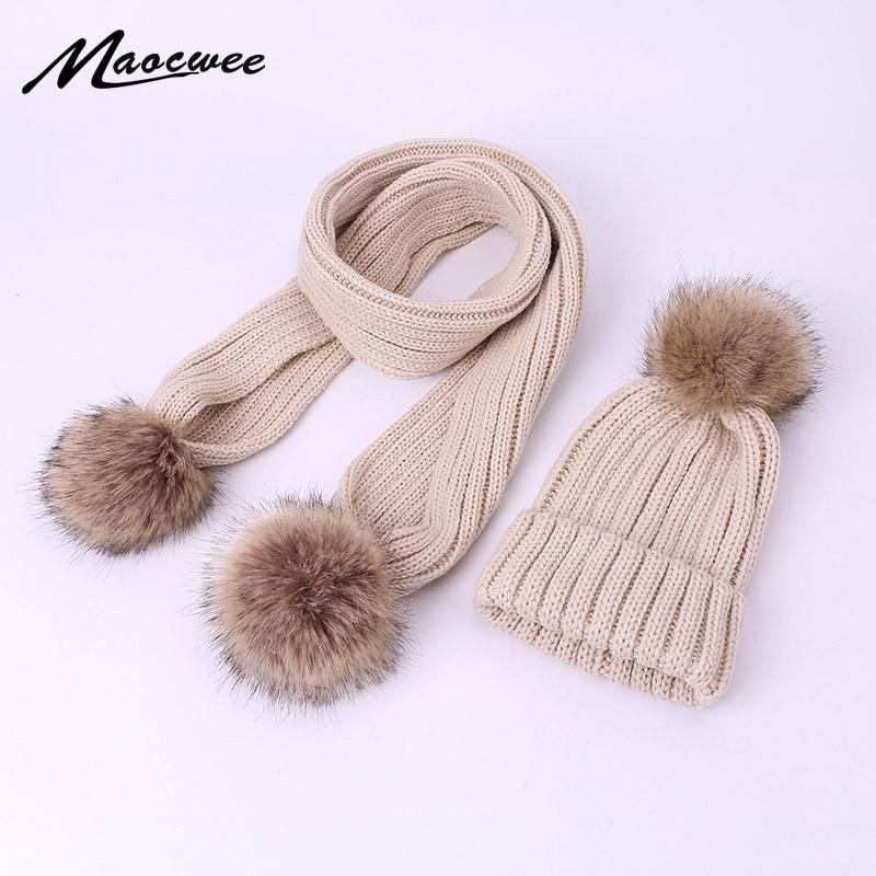 Winter Warm Knitted Cotton Hats Ladies Faux Fur Pompom Scarf Ski Parent-Child Caps Boy Girl Children Beanies For Women Skulli