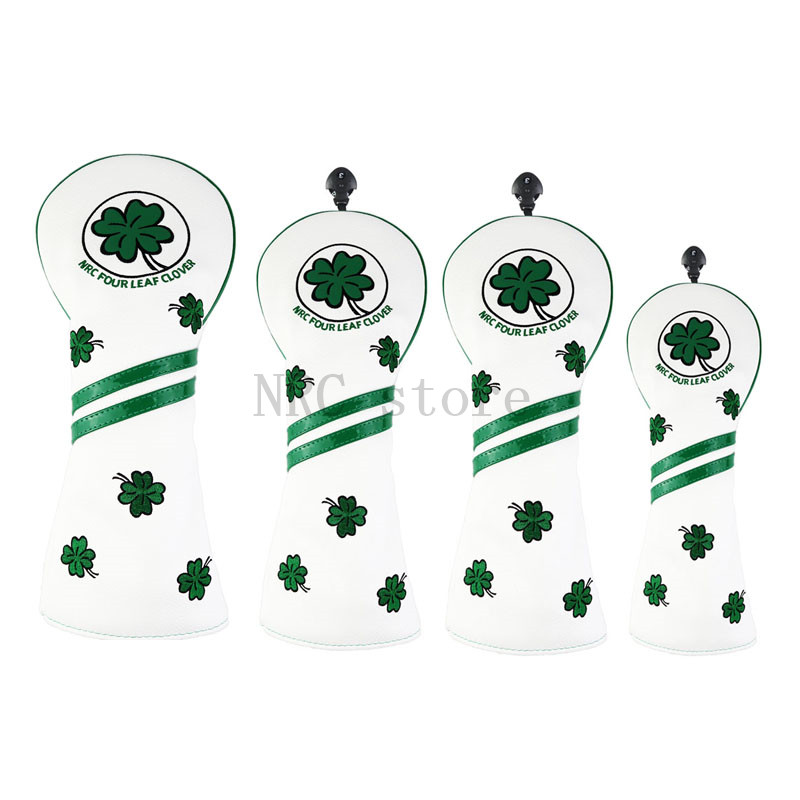 Golf Headcovers Golf Club Head Covers Driver Fairwaywood Hybrid Covers Set 460cc Four Leaf Clover Customizable Putter Covers