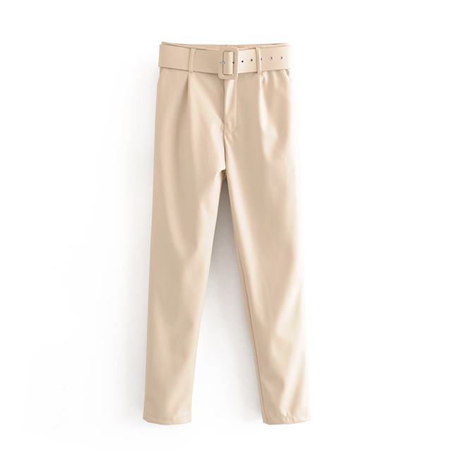 2020 Lente Faux Lederen Broek Effen Kleur Hoge Taille Broek Vrouwen Zwart Pu Broek Streetwear