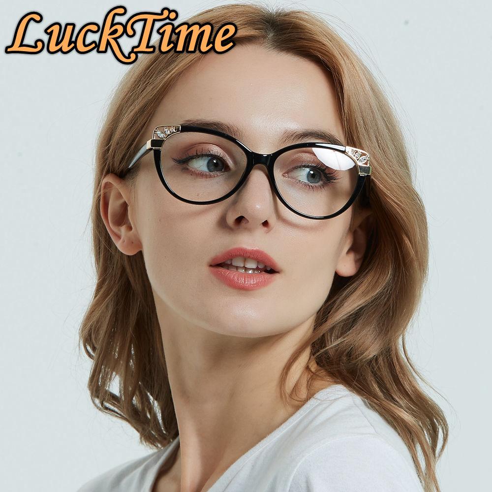 LuckTime Fashion Cat Ear Women Glasses Frames Casual Fashion Myopia Glasses Frame Women Lucky Time Optical Eyeglass Frames #1853
