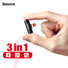 Baseus 3 in 1 Audio Adapter For iPhone 12 11 Pro Max Earphone Connector OTG For iPhone Xs X 8 7 Plus Charging/Music/Call Adapter