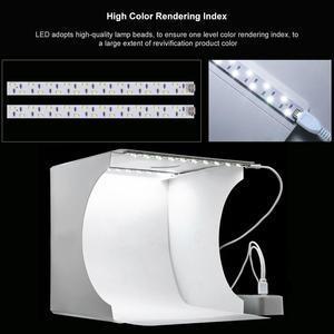 Image 2 - PULUZ caja de luz LED de 2LED, Mini caja de estudio fotográfico, 1100LM de fotografía de caja de luz, Kit de caja de tienda de tiro para estudio y fondos de 6 colores