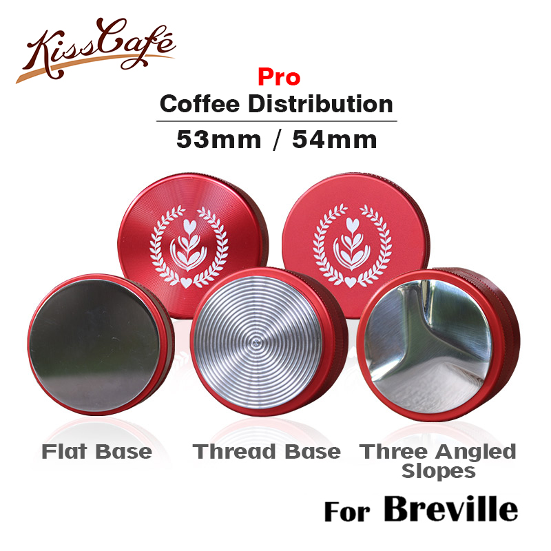 53mm Adjustable For Breville 304 Stainless Steel Coffee Espresso Tamper Macaron Thread Base Barista Distribution Tools