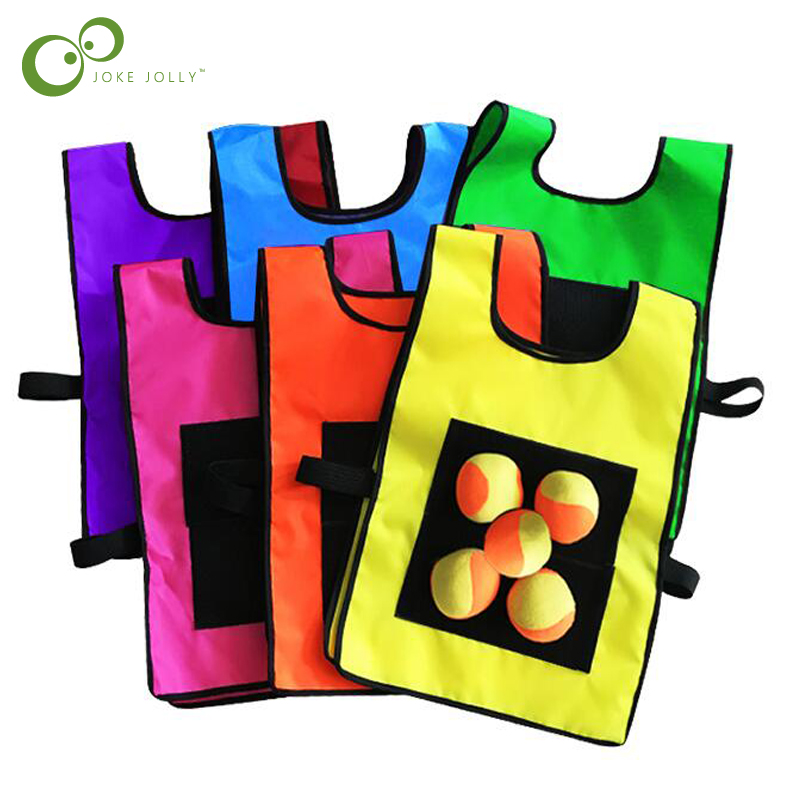 1Set Game Props Vest Sticky Jersey Vest Game Vest Waistcoat With Sticky Ball Throwing Children Kids Outdoor Fun Sports Toy ZXH(China)