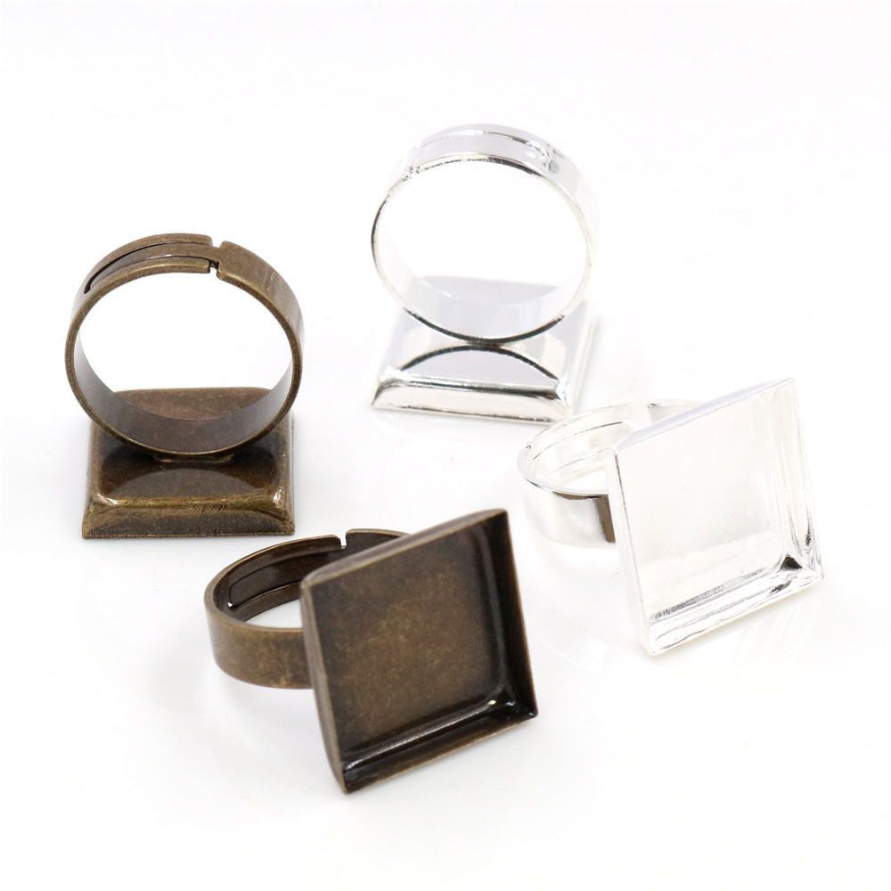 16mm 10pcs Silver Plated And Bronze Plated Square Brass Adjustable Ring Settings Blank/Base,Fit 16mm Square Glass Cabochons