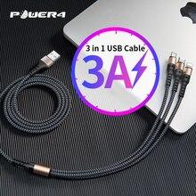 Power4 3w1 kabel USB szybka ładowarka Micro do błyskawicy USB typ C uniwersalne kable do telefonów komórkowych do iPhone Samsung Cord