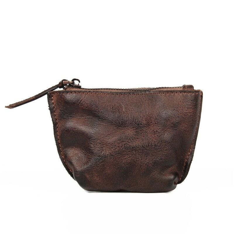 2019 New Style Genuine Leather Mini Handmade Purse Shell Zipper Coin Storgage Bag Full-grain Leather Skeleton-skin Bag