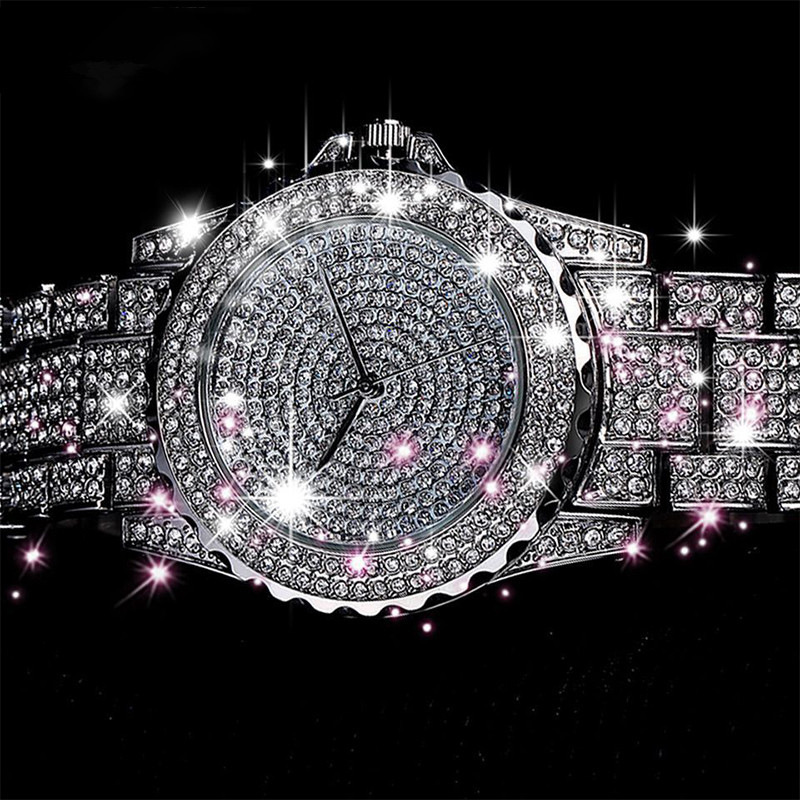 Fashion Bling Diamond Watch Women'S Stainless Steel Quartz Wristwatch Ladies Luxury Gold Watches Rhinestone Reloj Mujer