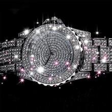 Fashion Bling Diamond Watch Women'S Stainless Steel Quartz Wristwatch Ladies Lux