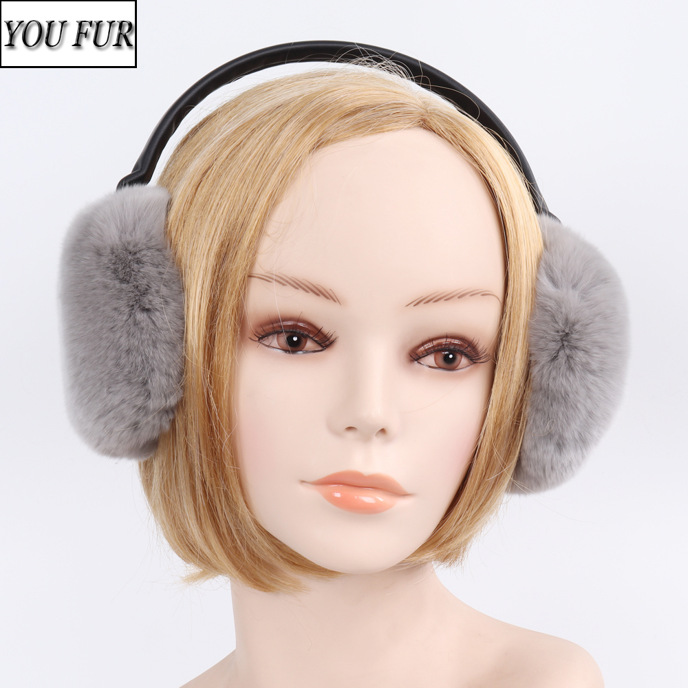 Lady 100% Natural Rex Rabbit Fur Earmuffs Women Winter Warm Genuine Rex Rabbit Fur Ear Muff New Russian Fluffy Real Fur Earflap