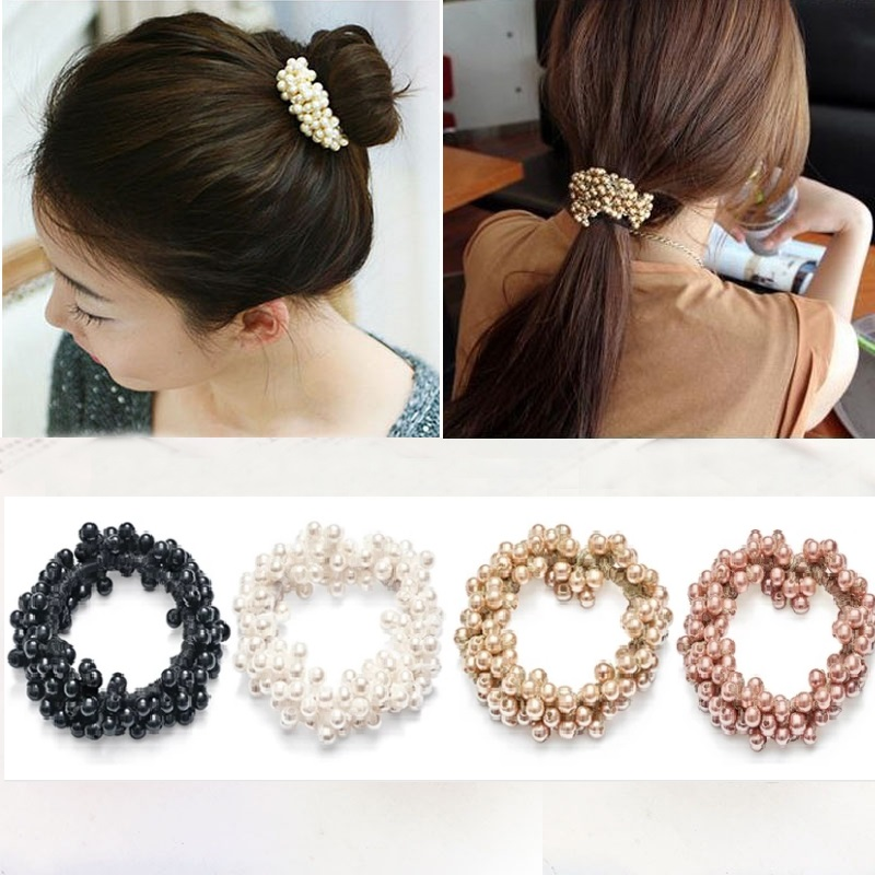 Fashion Pearl Beads Scrunchies Ponytail Holder for Women Girls Vintage Headbands Elastic Hair Bands Rubber Rope Hair Accessories